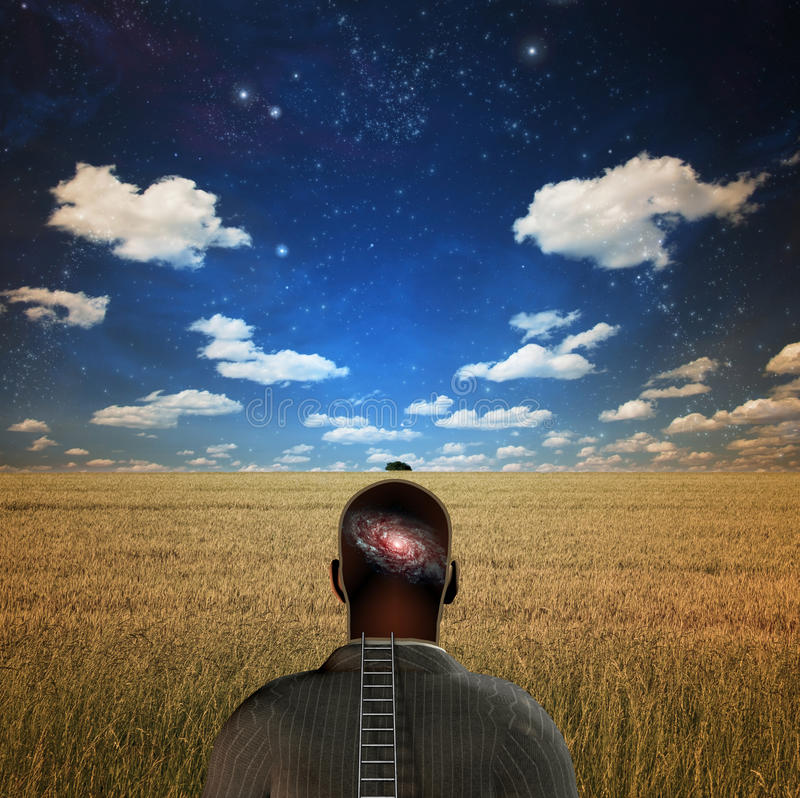 Download Man with galaxy in head stock illustration. Illustration of intelligence - 13562553