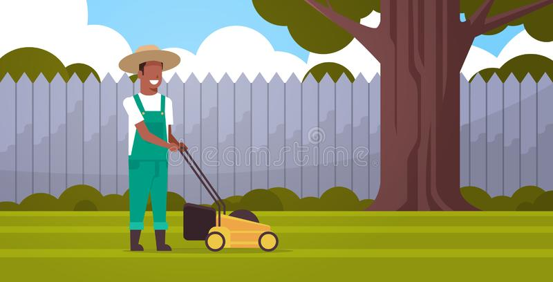 Man gardener cutting green grass with lawn mover african american farmer moving garden backyard gardening concept flat vector illustration