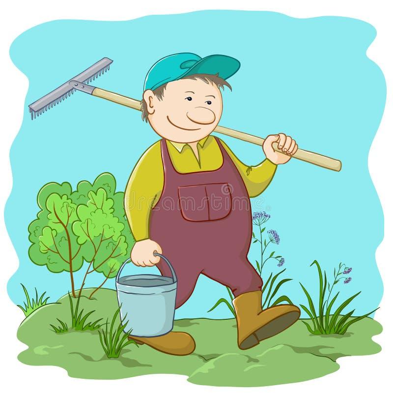 Man gardener in a garden royalty free illustration