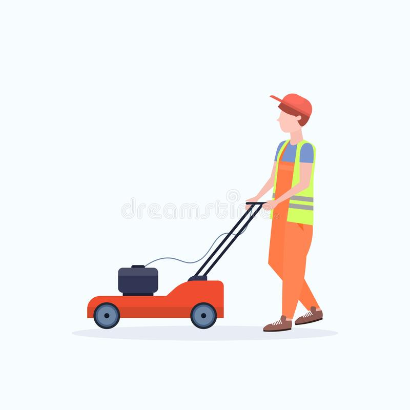 Man gardener in uniform cutting grass with lawn mower gardening concept flat full length white background. Vector illustration royalty free illustration