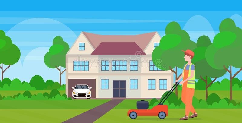 Man gardener in uniform cutting grass with lawn mower gardening concept modern cottage house countryside background full. Length flat horizontal vector stock illustration