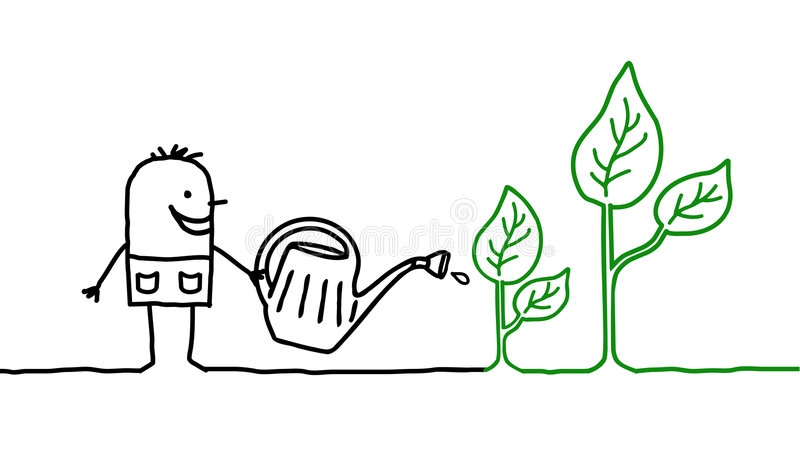 Man & gardening. Vector hand-drawn characters on line