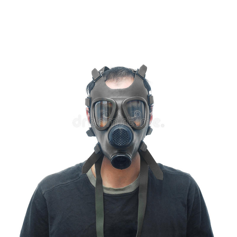 Download Man with gas mask stock photo. Image of isolated, pollution - 28208302