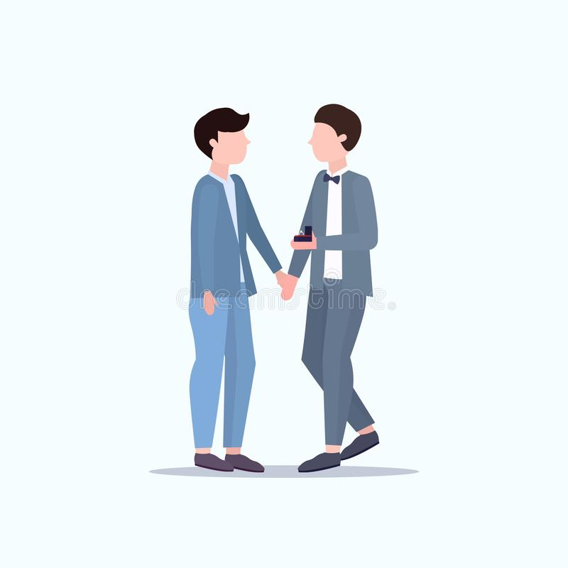Man gay holding engagement ring proposing boyfriend marry him couple men homosexual marriage offer wedding celebrating. Concept male cartoon characters full vector illustration