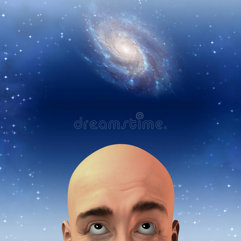 Man Gazes Up At Stars Stock Photo
