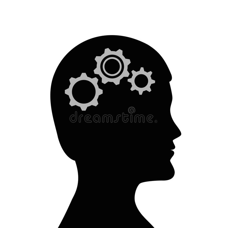 Man with gears in the head business symbol teamwork vector illustration