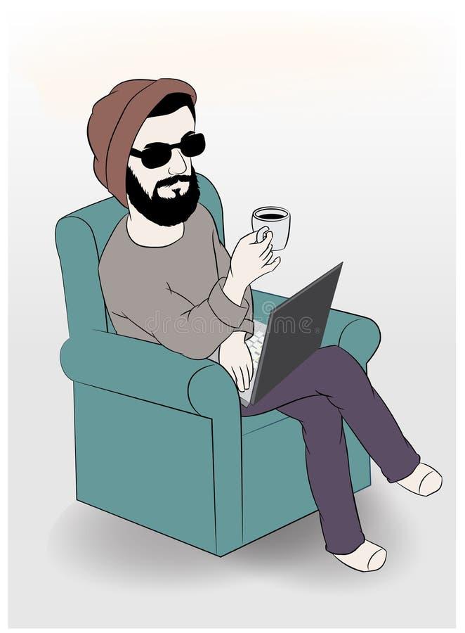 Man genom att använda bärbara datorn, medan ha kaffe på soffan, vektorillustration stock illustrationer