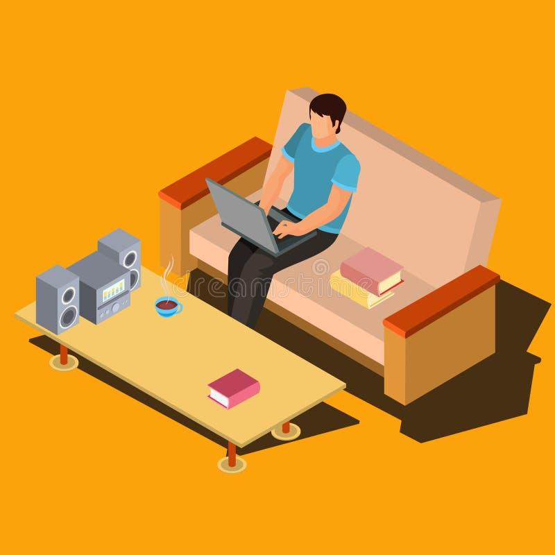 Man genom att använda bärbara datorn på hemmastadd isometrisk vektor för soffa royaltyfri illustrationer