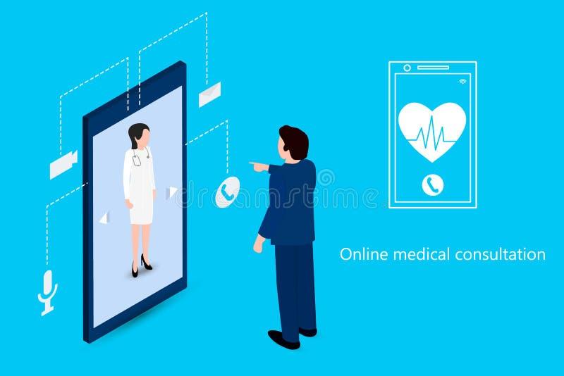 Man genom att använda en telefon för att möta en doktor stock illustrationer