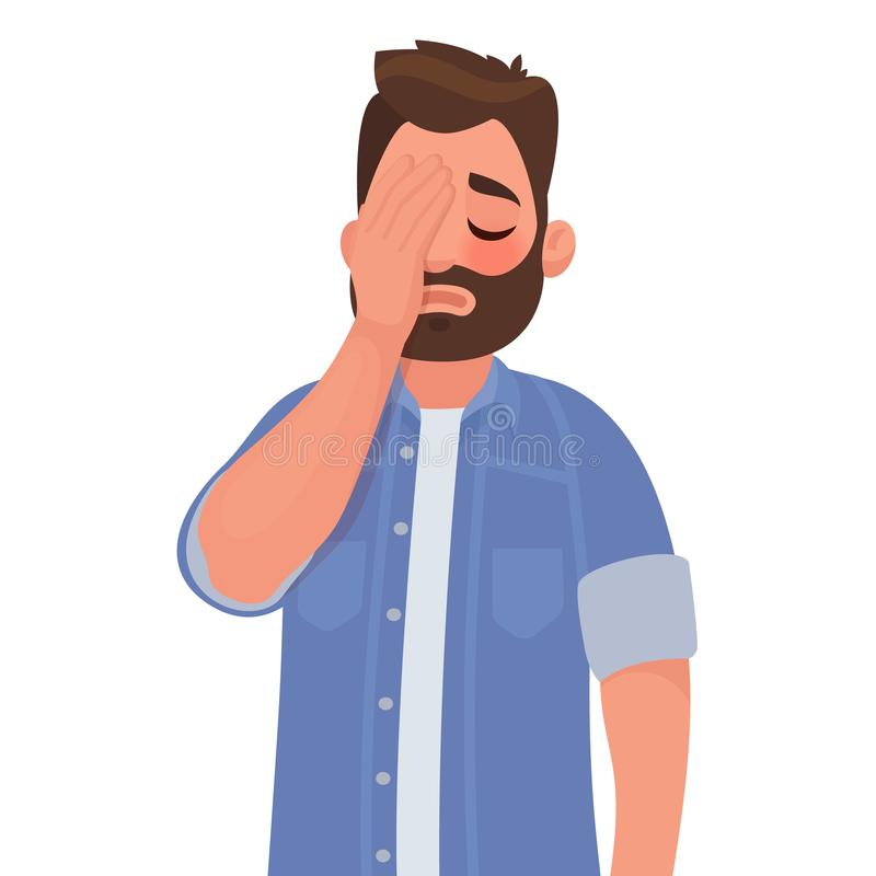 Man with a gestures facepalm. Headache, disappointment or shame. Vector illustration in cartoon style stock illustration