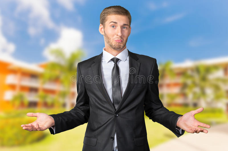 Man gesturing 'I don't know' stock photos