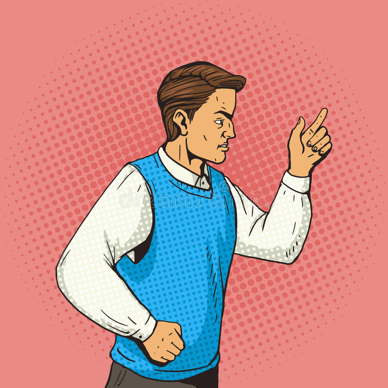 Man gesturing and argues pop art vector stock illustration