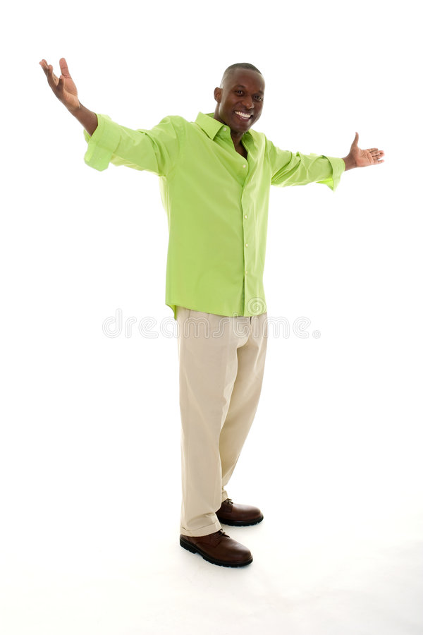Download Man Gesturing With Hands Apart Stock Image - Image of happiness, gesture: 7041395