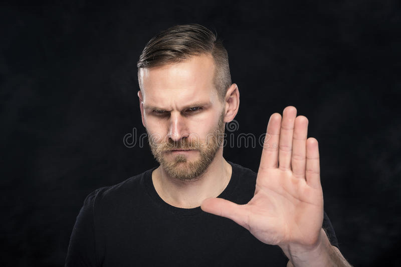 Man gesturing stop sign. royalty free stock photo