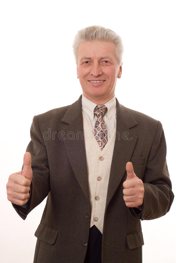 man gesturing a thumbs up isolated on white royalty free stock images