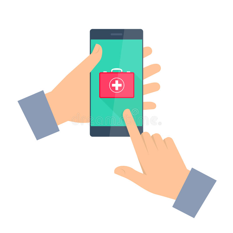 Man gets first aid by phone. Telemedicine and telehealth. vector illustration