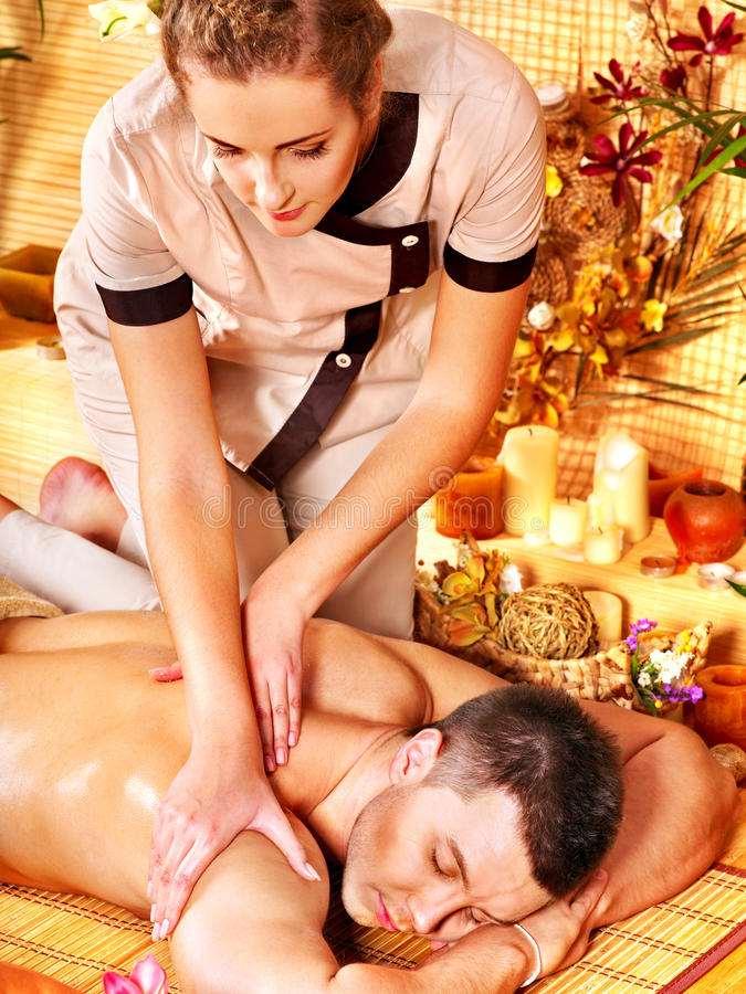 Man Getting Aroma Massage In Spa. Royalty Free Stock Photo