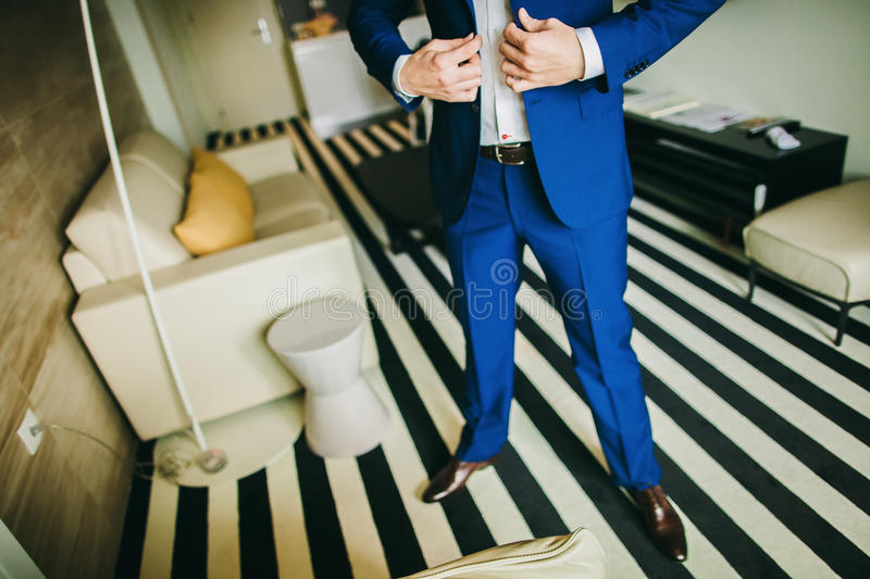 Man getting dressed. Manw getting ready to dress and business meeting stock photos