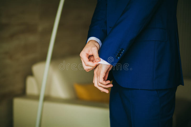 Man getting dressed. Manw getting ready to dress and business meeting royalty free stock photo