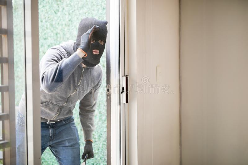 Man Getting Ready To Rob A House Stock Image Image Of Back