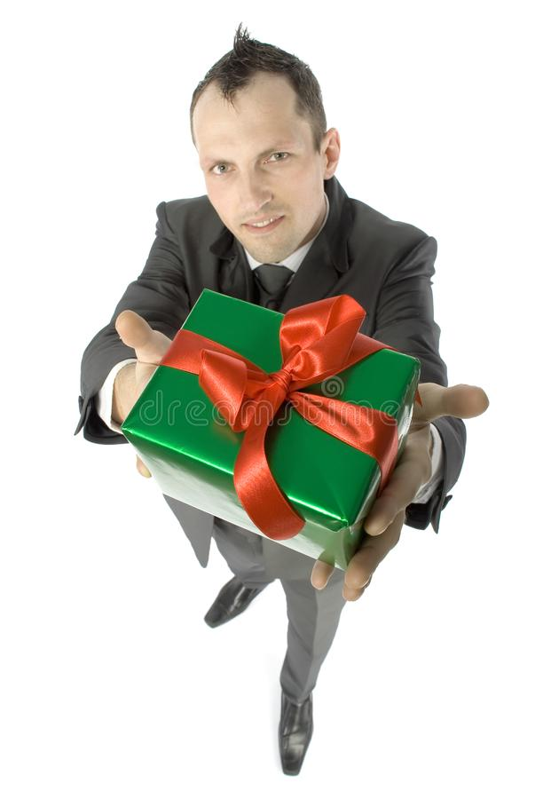 Man with gift royalty free stock image
