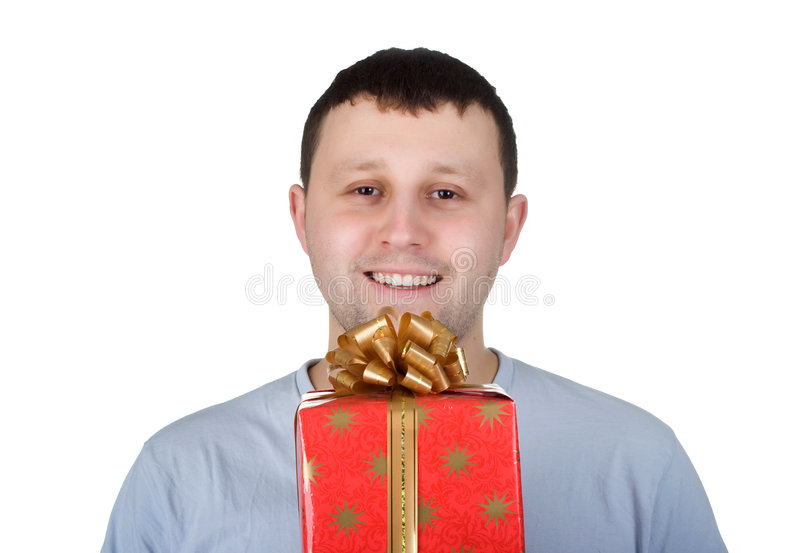 Download Man with gift stock photo. Image of white, happy, gift - 9350188