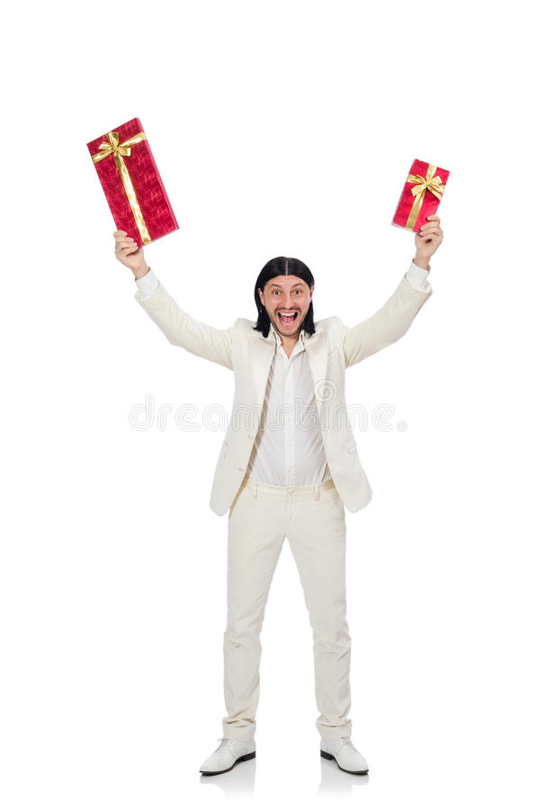 Man with giftbox. The man with giftbox isolated on white stock images