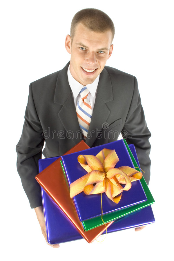 Man with gifts. Isolated man with gifts