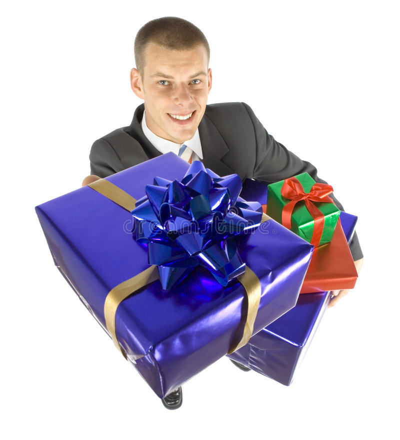Man with gifts stock image