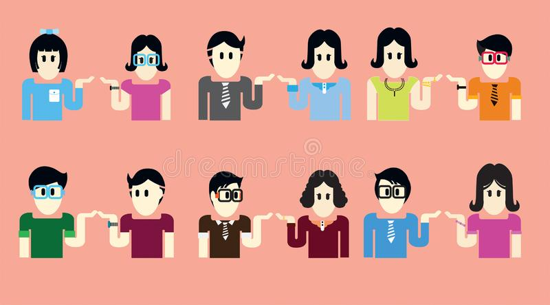 Women and men are half dressed in bright colors, there are many. royalty free illustration