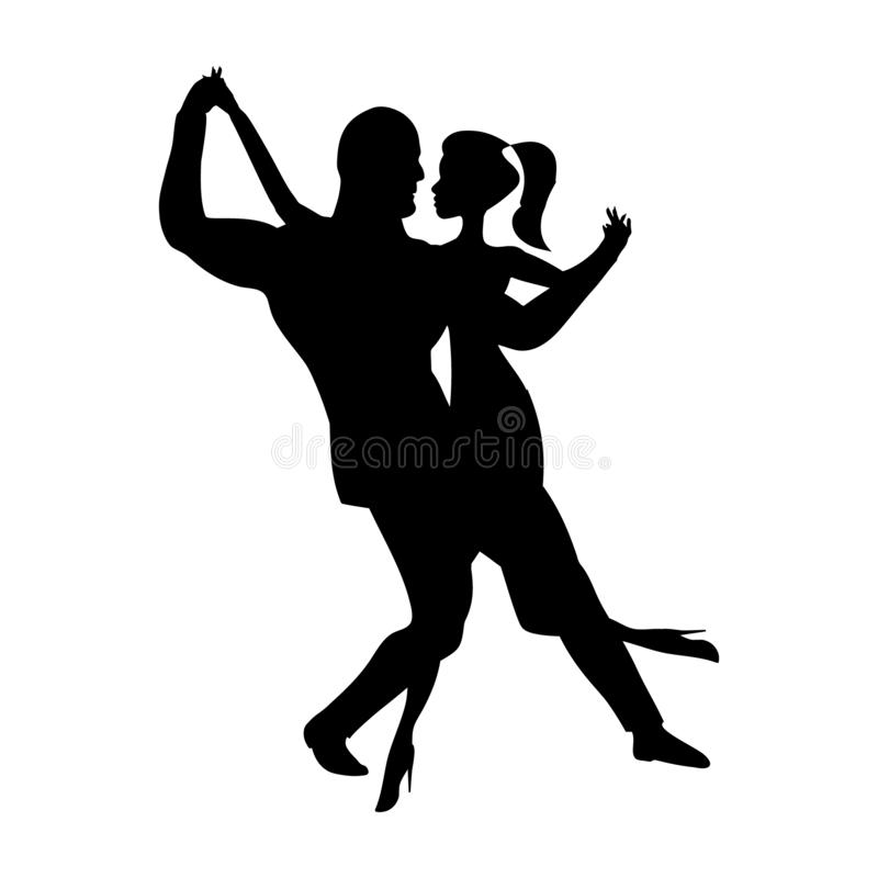 Man and girl dance silhouette, music dancing a sensual social dances. The black and white image isolated. Vector illustration. stock illustration