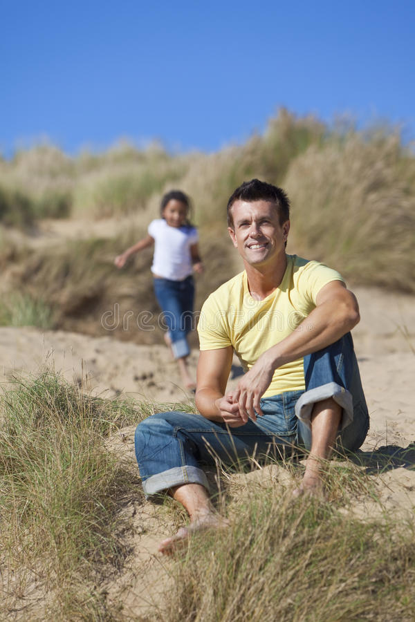 Download Man & Girl, Father & Daughter Playing At Beach Royalty Free Stock Image - Image: 17232876
