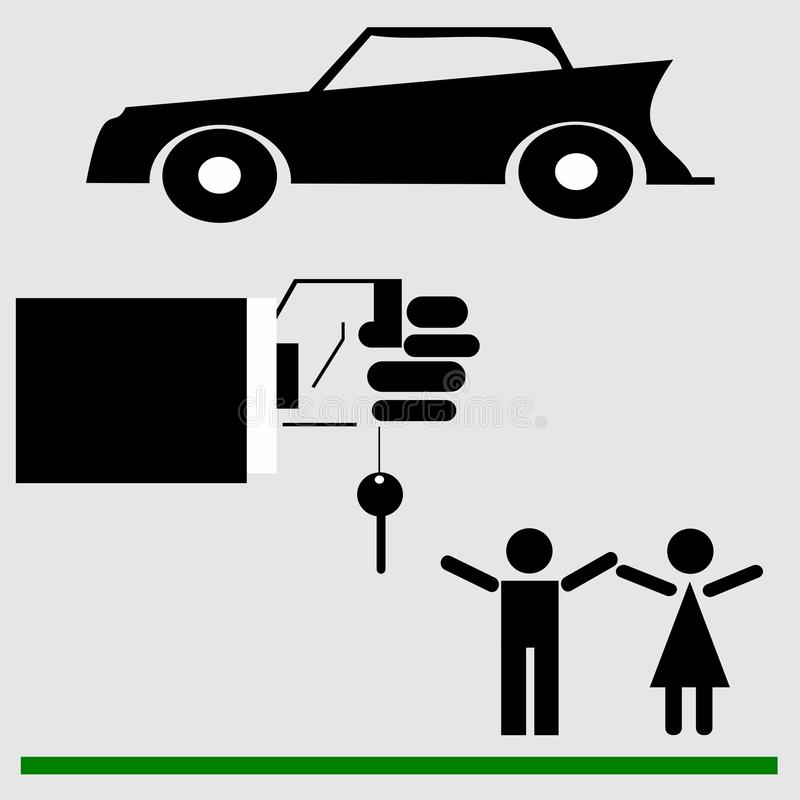 Married couple, man and woman. Gift car, car keys. A man and a girl receive a prize, car keys. Beautiful vector image, lottery winnings, gift vector illustration