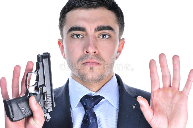 Download A man  give up. stock image. Image of costume, handgun - 23495261