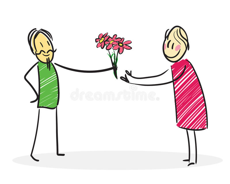 Man gives flowers to a woman vector illustration