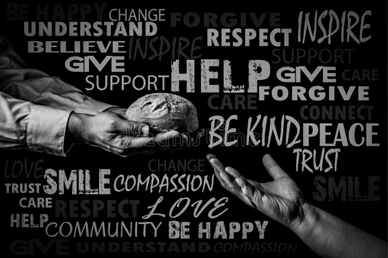 Man giving Bread to the poor. Word cloud. Helping Hand Concept.Black and white. Man giving Bread to the poor, surrounded by random beautiful words. Word cloud stock image
