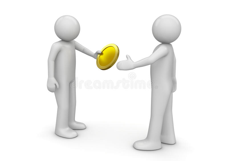 Man giving coin to other royalty free illustration