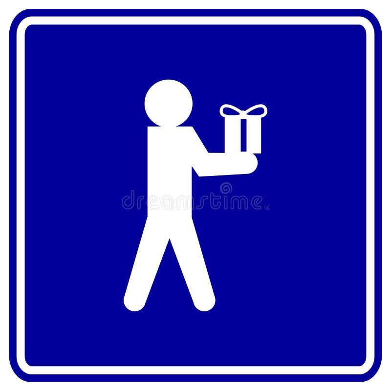 man giving a gift vector sign vector illustration