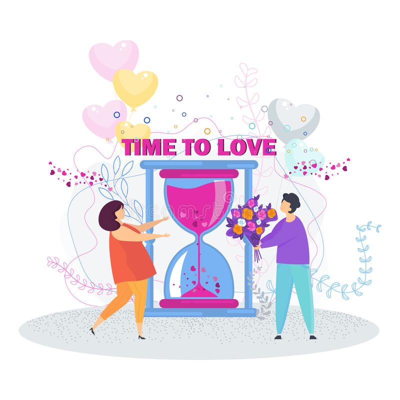 Man is giving a girl a bouquet of flowers vector illustration
