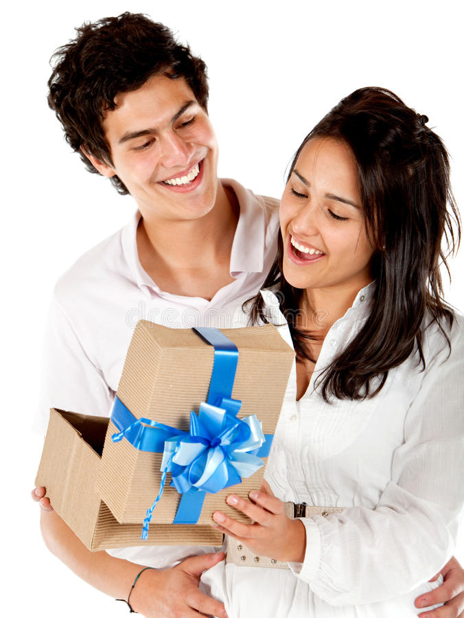 Man giving his girlfriend a present