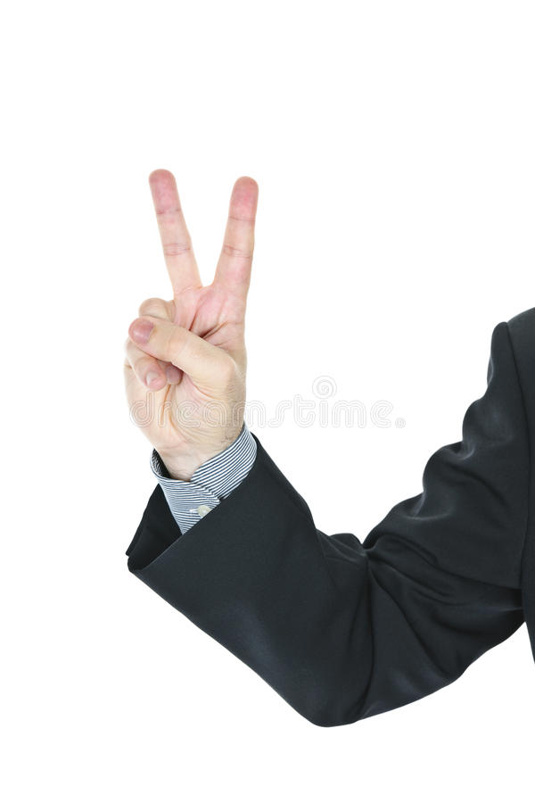 Man giving peace or victory sign royalty free stock image
