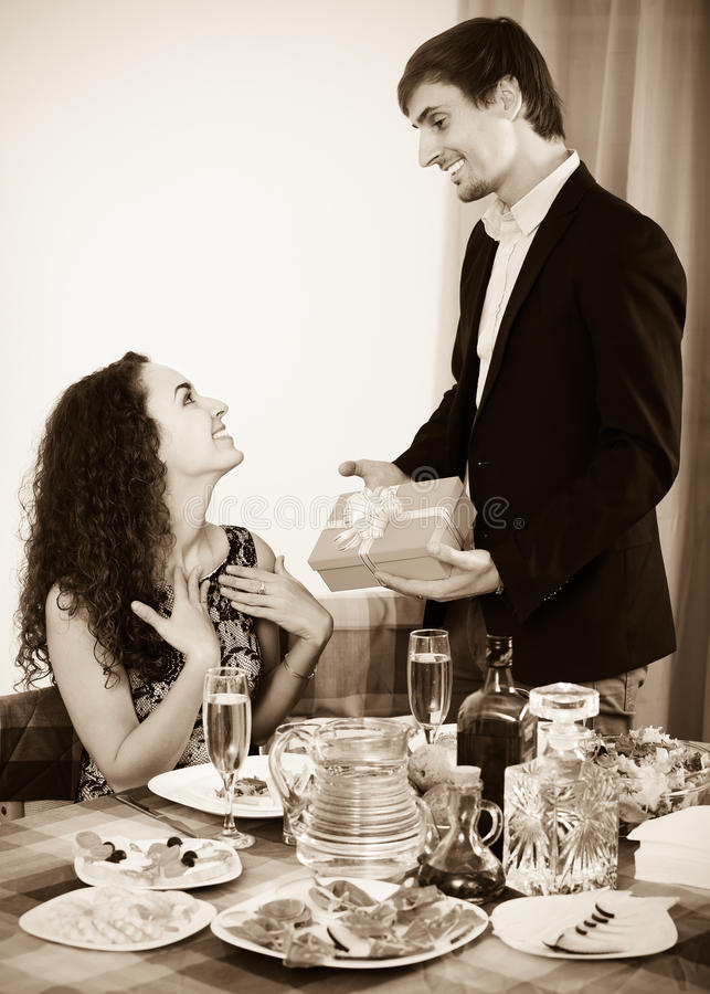 Man Giving Present To Woman Stock Image - Image of portrait ...