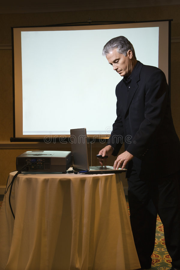Man giving presentation. royalty free stock photo