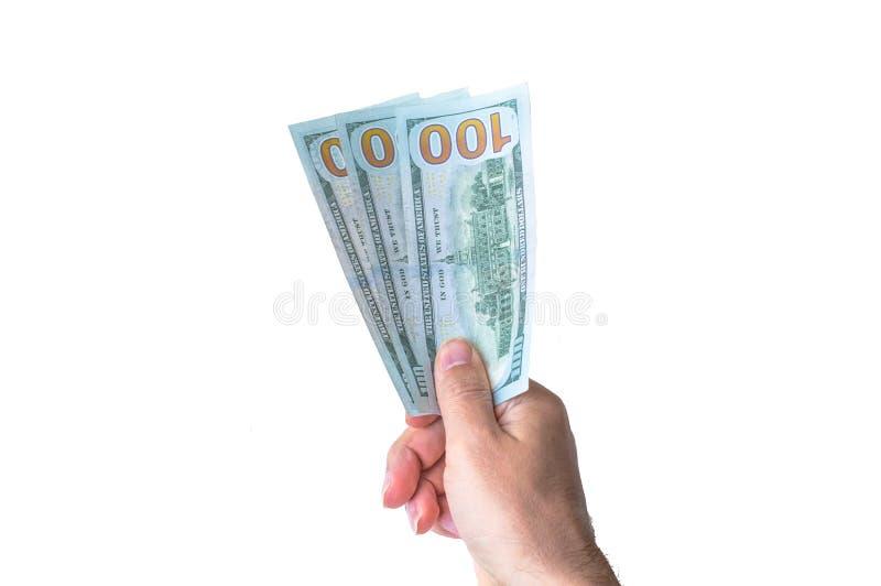 Man giving three hundred US Dollars. Man holding three hundred US Dollars royalty free stock photo
