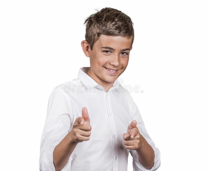 Man giving two thumbs up, pointing with fingers at camera stock photo
