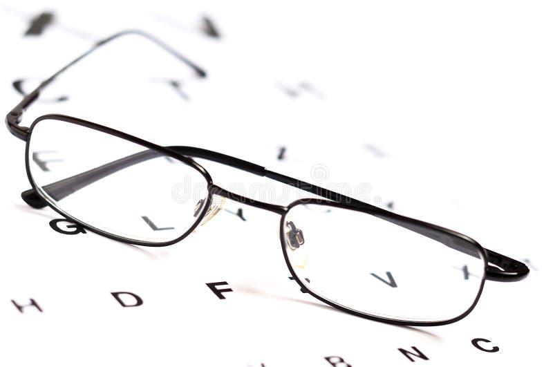 Man glasögon över Snellen synar kartlägger arkivbild