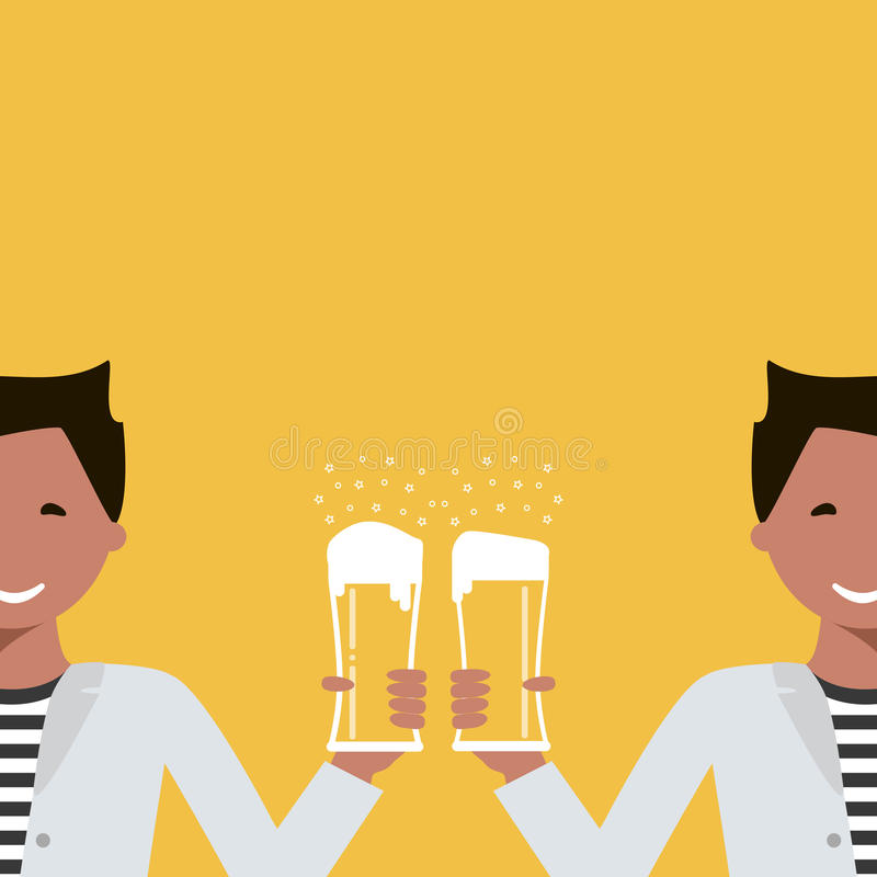 Man with a Glass of Beer royalty free illustration