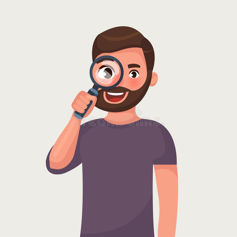 The man is looking through magnifying glass and search. Vector illustration in cartoon style. The man in glasses with beard is looking through magnifying glass vector illustration