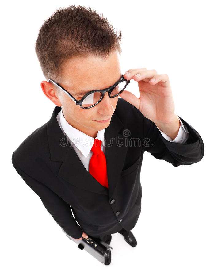 Man With Glasses And Briefcase Stock Image