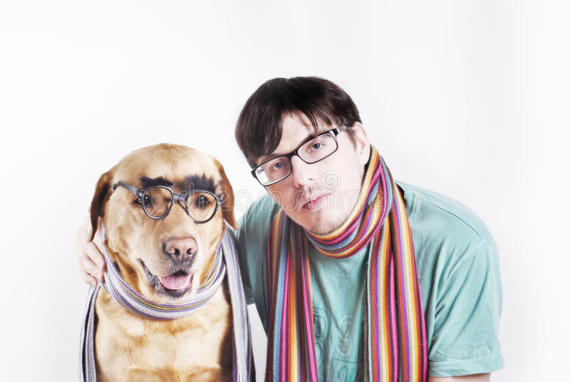 Man in glasses and dog in glasses stock photography